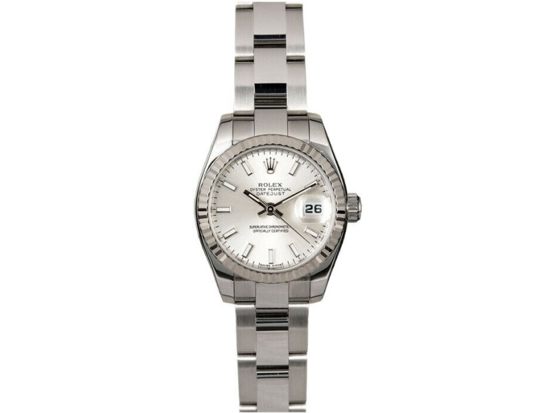 Rolex Datejust 26mm 179174 Women's Silver Index White Gold 26mm 1 Year Warranty