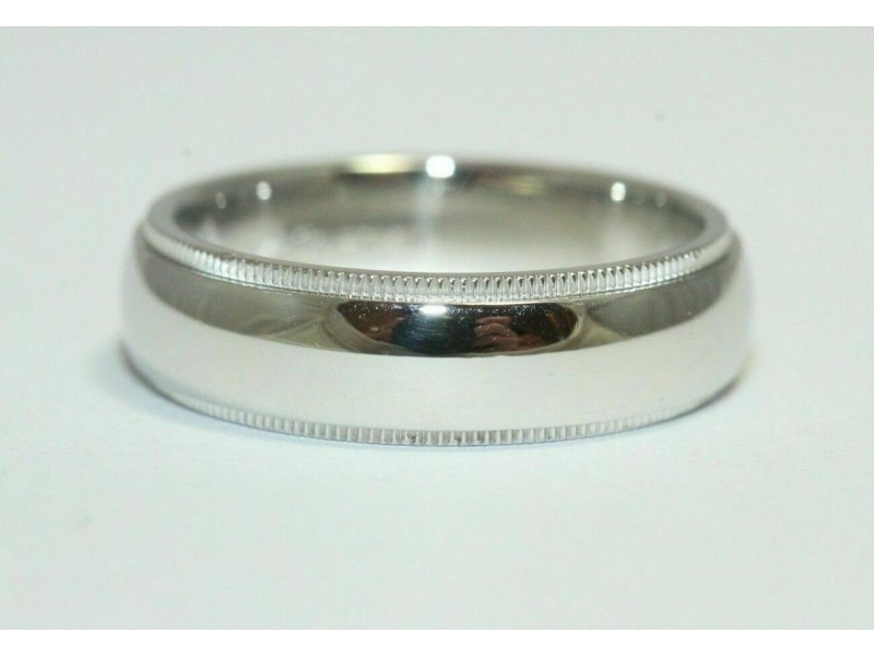 Tiffany & Co Platinum Mens 6 MM Double Milgrain Wedding Band Size 10.5 $2525 NEW