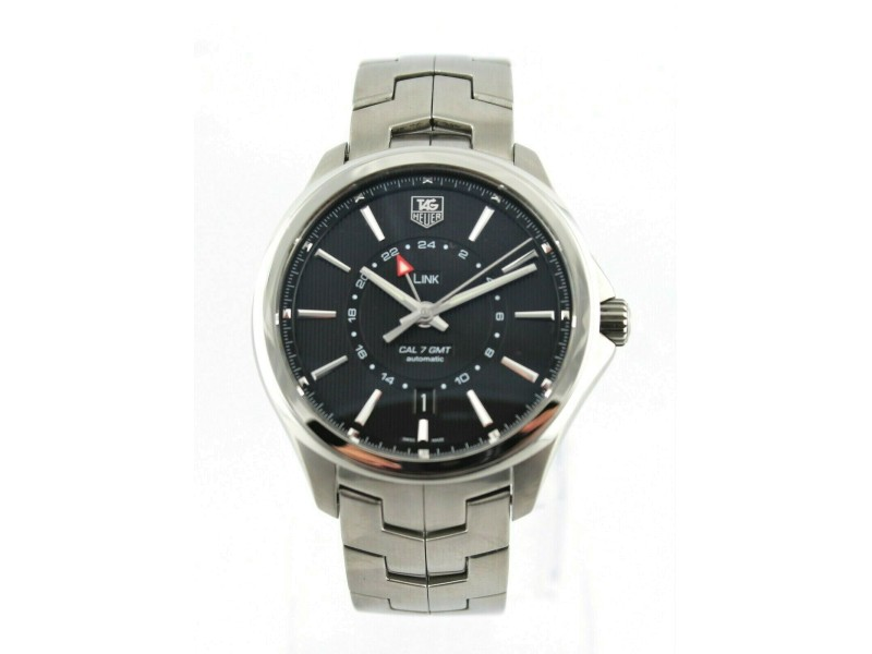 TAG HEUER LINK WAT201A.BA0951 DUAL TIME BLACK AUTOMATIC MENS GMT LUXURY WATCH