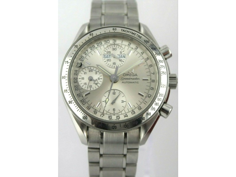 OMEGA MENS SPEEDMASTER 3523.30 AUTOMATIC CHRONOGRAPH TRIPLE DATE SILVER WATCH