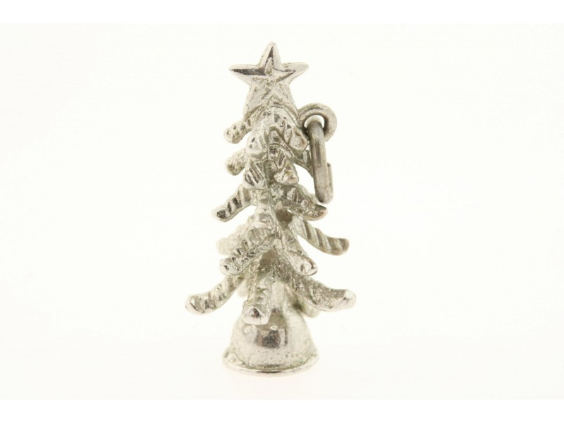 Vintage Sterling Silver Charm 3D Christmas tree with Star