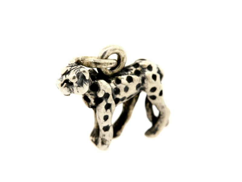 Vintage Sterling Silver Charm Small Cheetah Big Cat Leopard Tiny