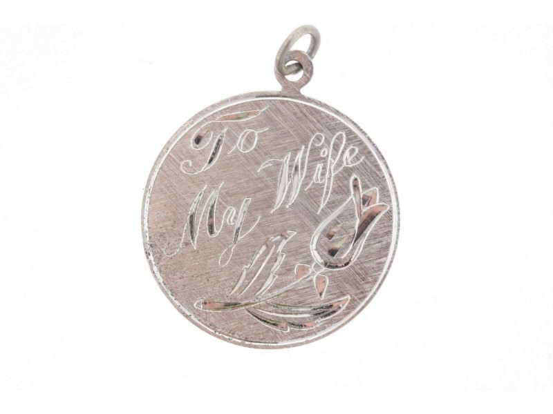 Vintage Sterling Silver Charm To My Wife Rose Flower Disc Round Circle Engrave