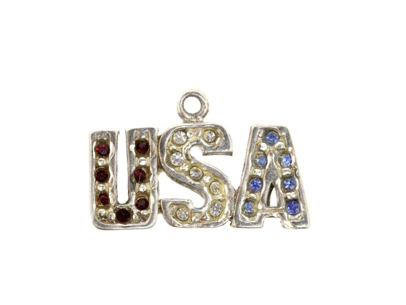 Vintage Sterling Silver Charm USA Red White Blue Stones