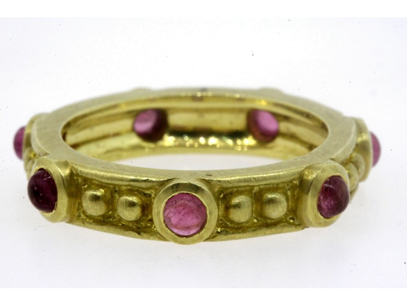 18k Gold 7 Pink Tourmaline Eternity Band Ring Stackable Bead Brush 9g sz 9