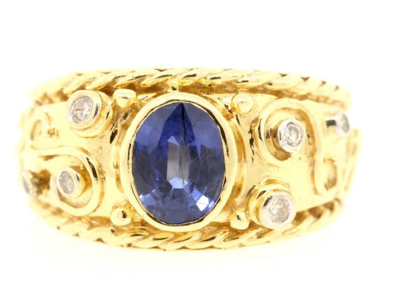 Levian 14k Gold Oval Sapphire Diamond Ring size 5.75