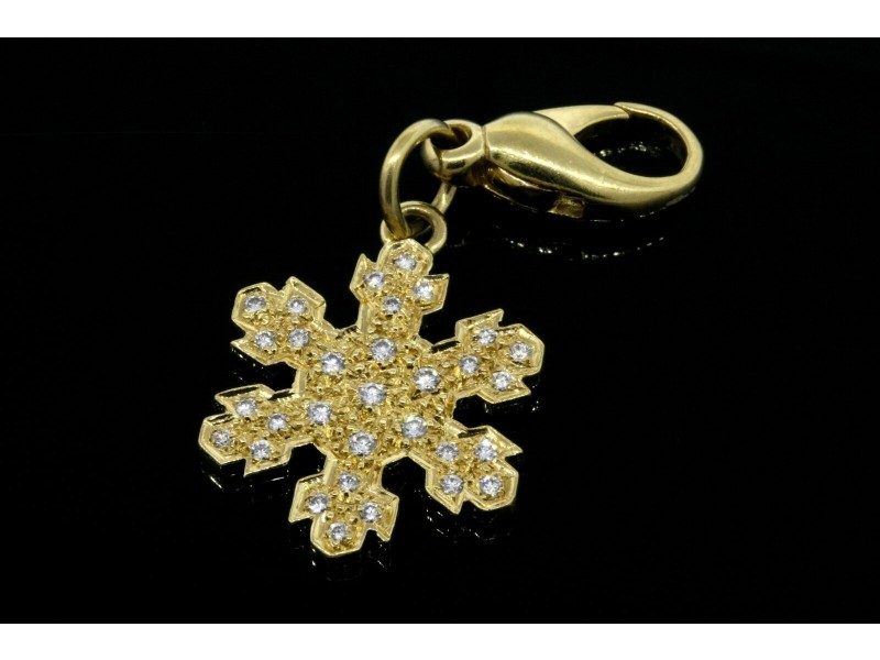 Snowflake Diamond Charm Pendant Lobster Claw Clasp .30ct GH VS Winter Christmas