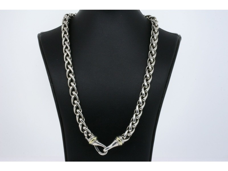 "David Yurman Wheat Chain Necklace 8mm 14k Gold Sterling Silver 18"""