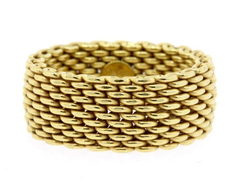 Tiffany & Co. 18k Gold Somerset Mesh Ring Band sz 9