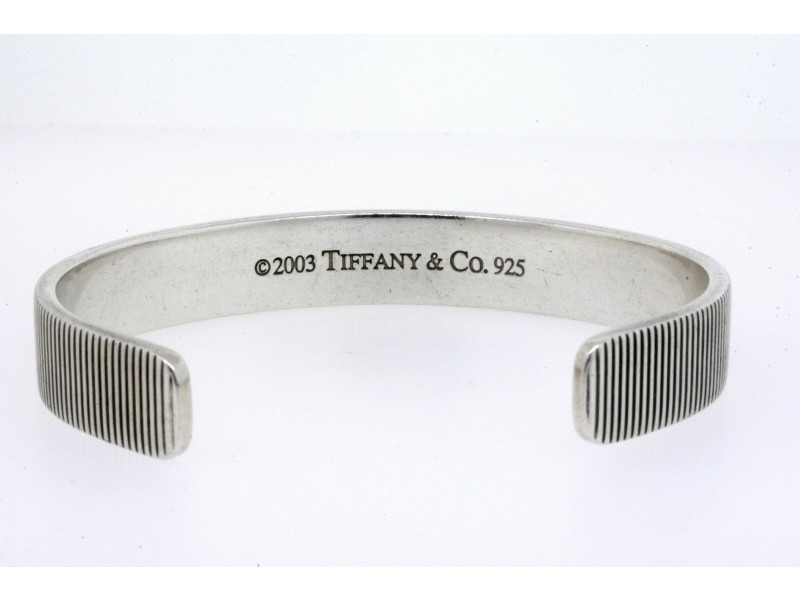 Tiffany & Co. Bracelet Mens Cuff Sterling Silver 2003 Coin Edge 7.5""