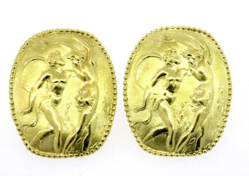 Seidengang Athena Earrings Large Omega Back GB 18k Yellow Gold 23.3g