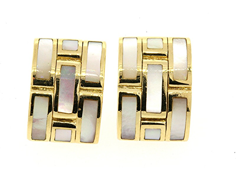Roberto Coin Mother Pearl Inlay Earrings 18k Gold Vintage Rare MOP Brick Design