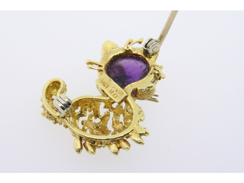 Cat Pin Brooch 18k Yellow Gold Amethyst Cabochon Ruby Eyes Kitty 3D Italy
