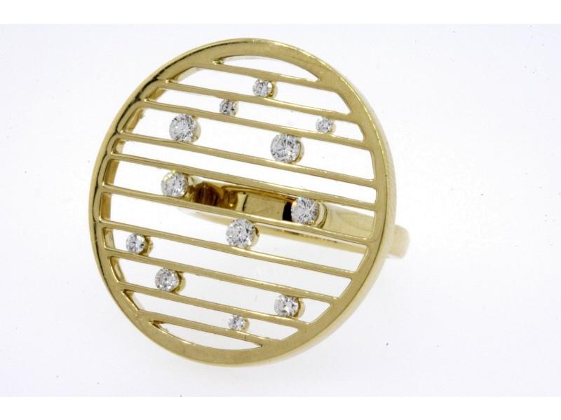 Movado Diamond Ring 18k Yellow Gold Circle Lines Floating Modern Open sz 5.5