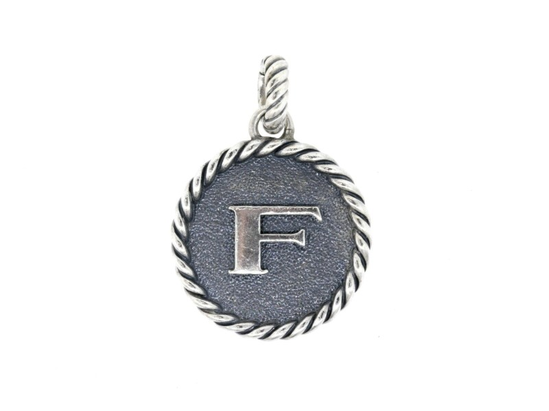 David Yurman F Pendant Charm Enhancer Initial Letter Cable Collectibles