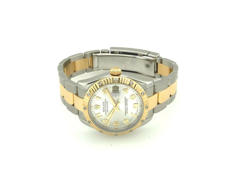 Rolex Datejust 31mm Midsize Rare Fluted and Diamond Bezel Silver Concentric Dial