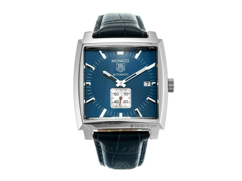 AUTHENTIC TAG HEUER MONACO WW2111.FC6204 AUTOMATIC CALIBRE 6 BLUE LEATHER WATCH