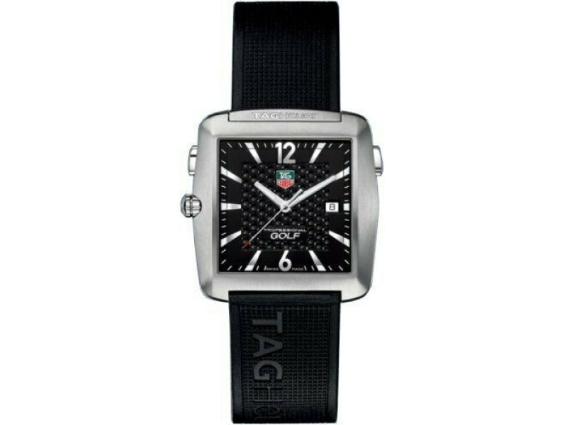 SALE TAG HEUER PROFESSIONAL WAE1111.FT6004 TIGER WOODS GOLF BLACK RUBBER WATCH
