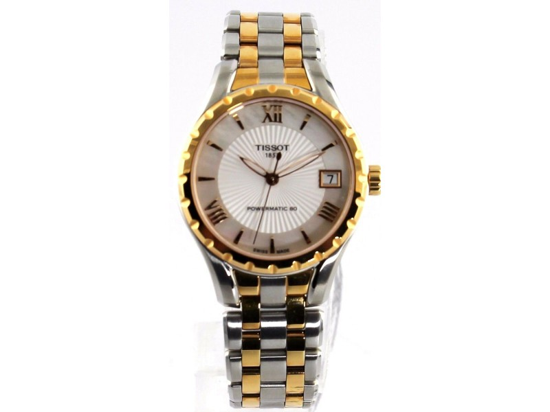New Tissot Lady 80 T072.207.22.118.01 Automatic Gold Tone Pearl Ladies Watch