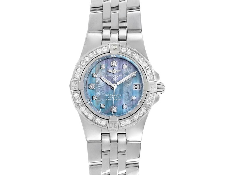 Breitling Starliner Blue Mother of Pearl Diamond Ladies Watch A71340