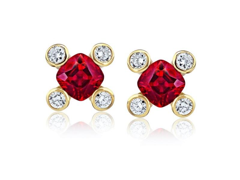 David Gross  18K Yellow Gold  Ruby Earrings