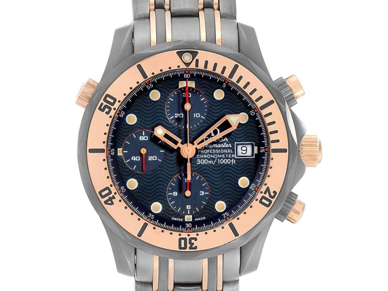 Omega Seamaster 41mm Titanium Rose Gold Mens Watch 2296 80 00 Box