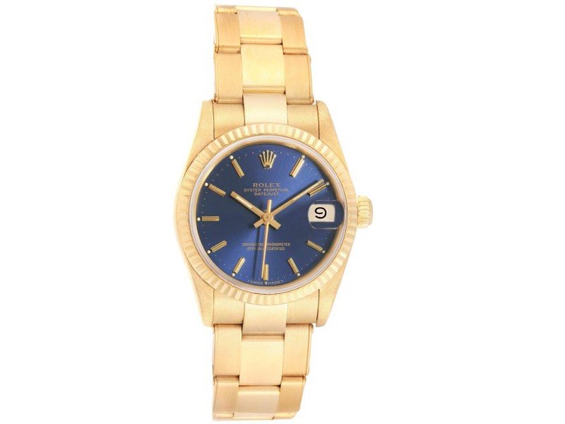 Rolex President Datejust Midsize Blue Dial Yellow Gold Ladies Watch 68278
