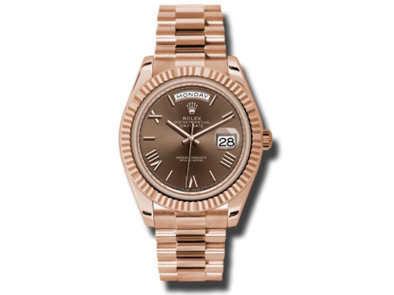 Rolex Day-Date II President Rose Gold Chocolate Roman Dial 40mm Watch