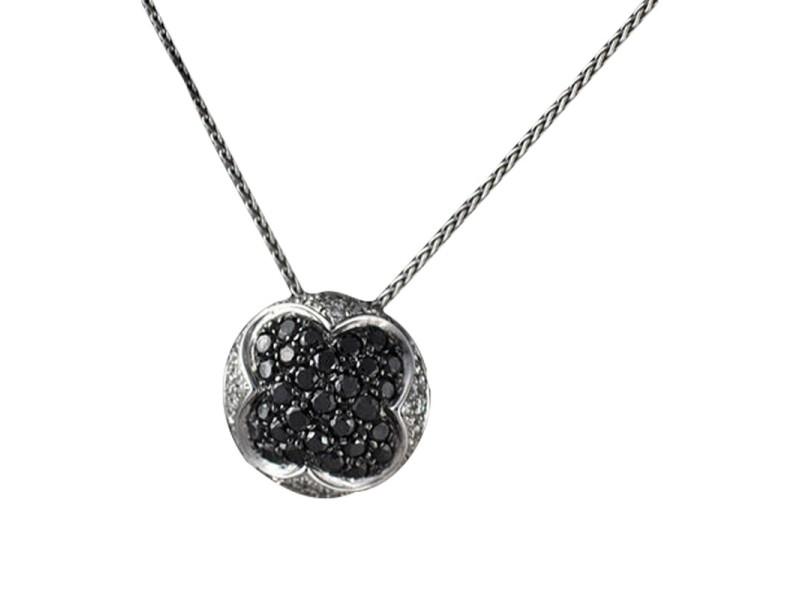 Salavetti 18K White Gold Black Diamond Pendant Necklace