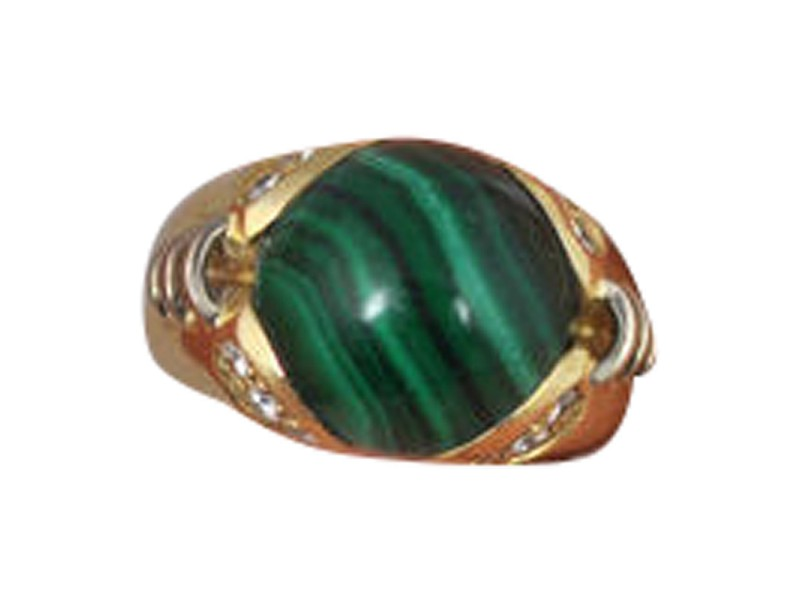 Lani Fratelli 18K Yellow Gold Malachite Diamond Ring