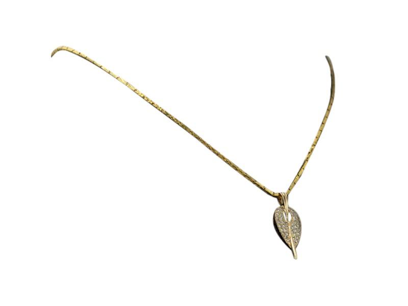 14K Yellow Gold & Diamond Leaf Motif Pendant Brooch