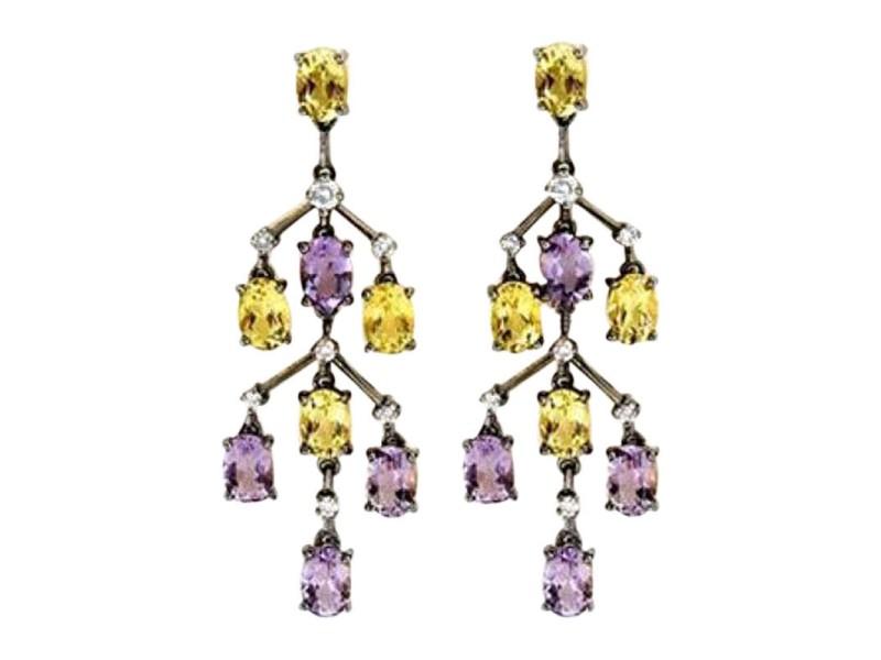 Laura Munder 18K Gold Amethyst Lemon Citrine Dangle Earrings