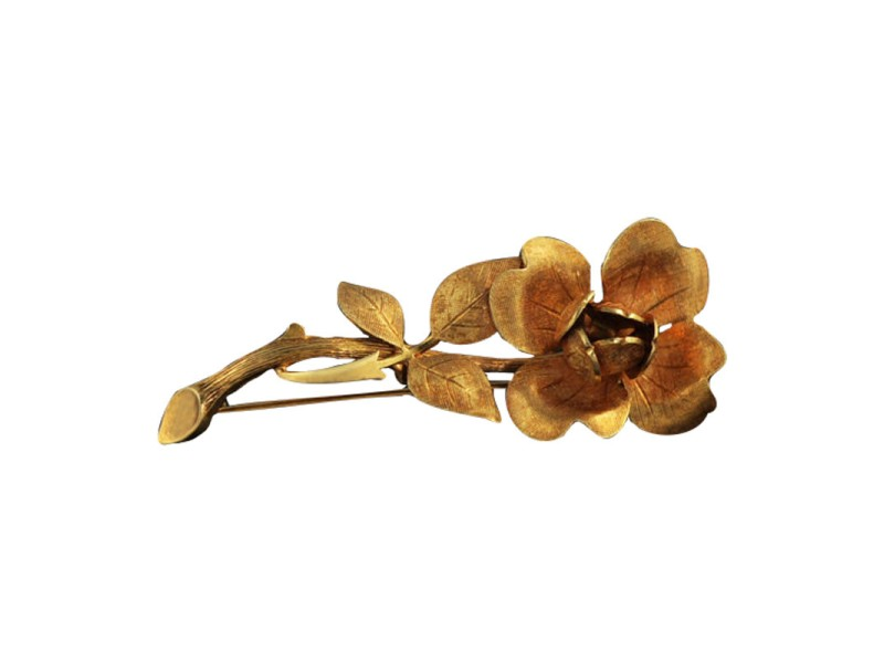 Tiffany & Co. 14K Yellow Gold Flower Brooch Pin