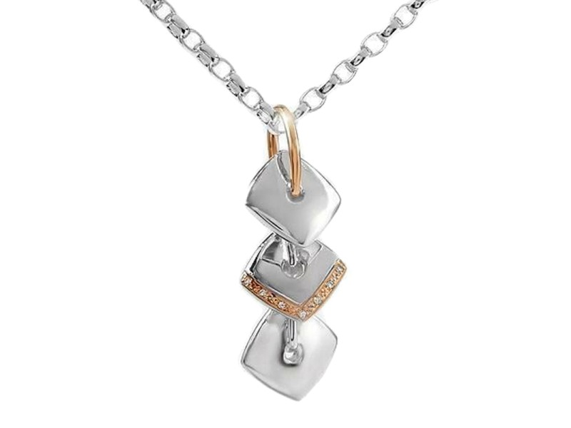 Lorenzo Diamond Sterling Silver & 18K Yellow Gold Pendant Necklace