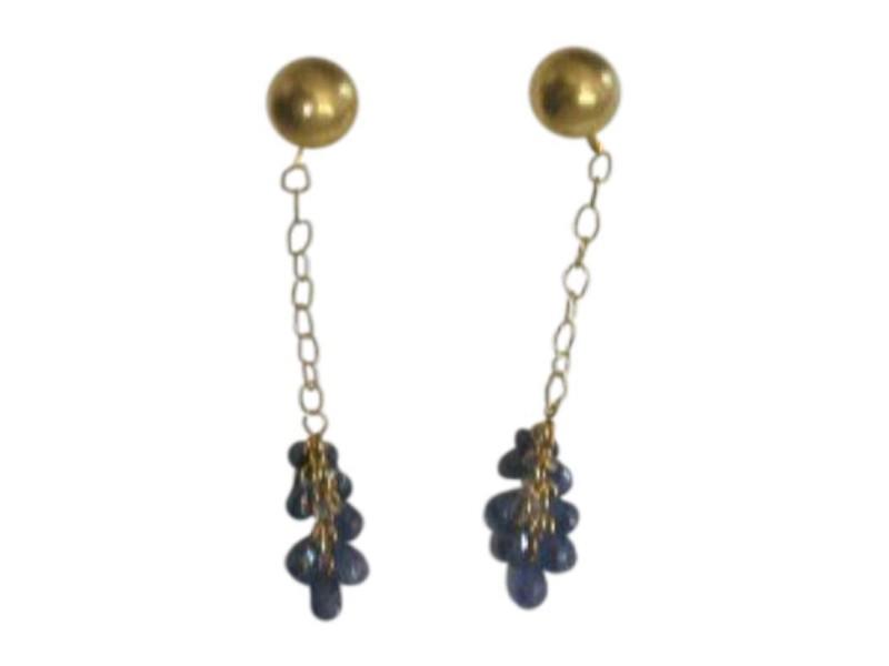 Gurhan Briolette 24K Yellow Gold Blue Sapphire Dew Earrings