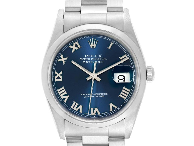 4c9ff93571e Rolex Datejust 36 Blue Dial Oyster Bracelet Steel Mens Watch 16200 ...