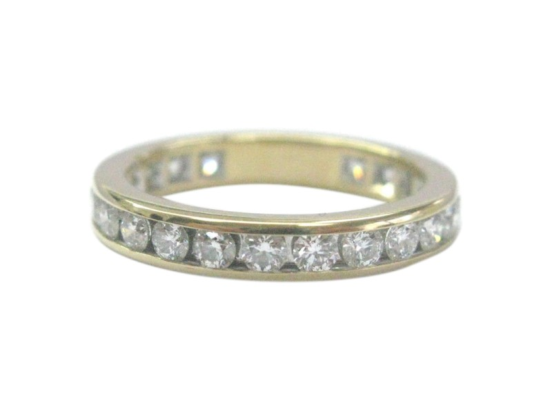 Tiffany & Co. 18K Yellow Gold with 0.72ct Diamond Channel Set Eternity Band Ring Size 4.5