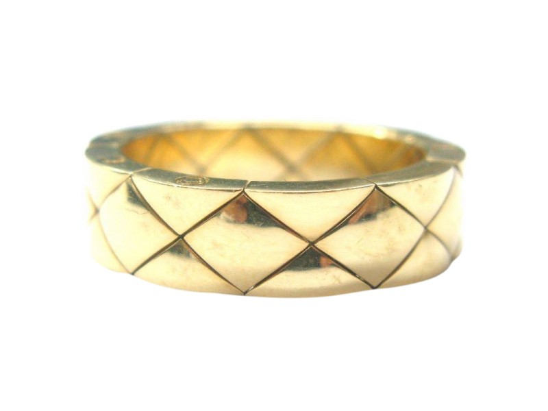 Chanel 18K Quilted Yellow Gold Band Ring