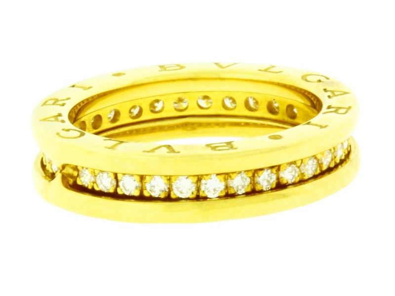 Bulgari B.Zrero 1 18K Yellow Gold with Diamond Eternity Ring Size 5.25