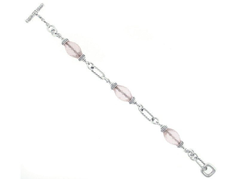 David Yurman Rose Quartz Diamond and Sterling Silver Bracelet