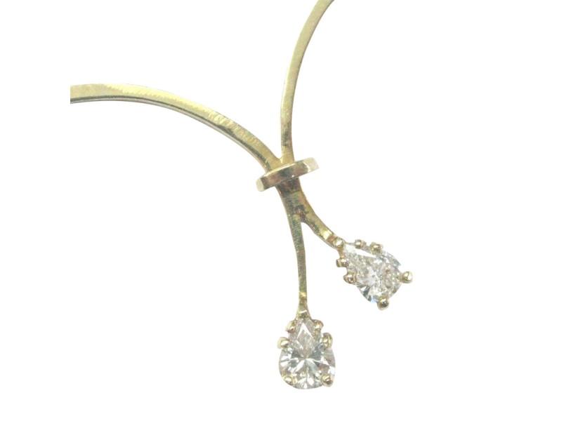 Fine Pear Shape Diamond Split Yellow Gold Necklace