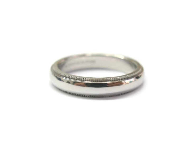 Tiffany & Co. PT950 Platinum Mil-Grain Wedding Band Ring Size 7.75