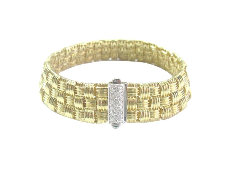 Roberto Coin Appassionata 18K Yellow Gold & 0.22ct Diamond 3-Row Bracelet