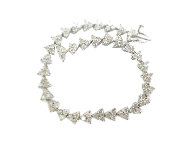 Platinum Round Cut Diamond Tennis Bracelet