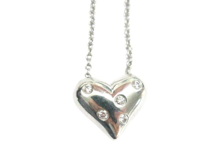 Tiffany & Co. 950 Platinum & 0.15ct Diamond Heart Pendant Necklace
