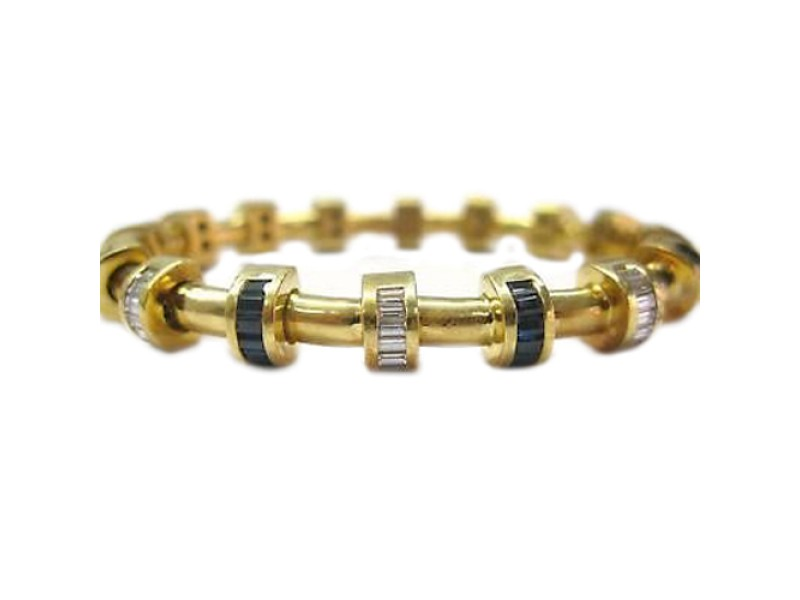 Charles Krypell 18K Yellow Gold Diamond Sapphire Bracelet