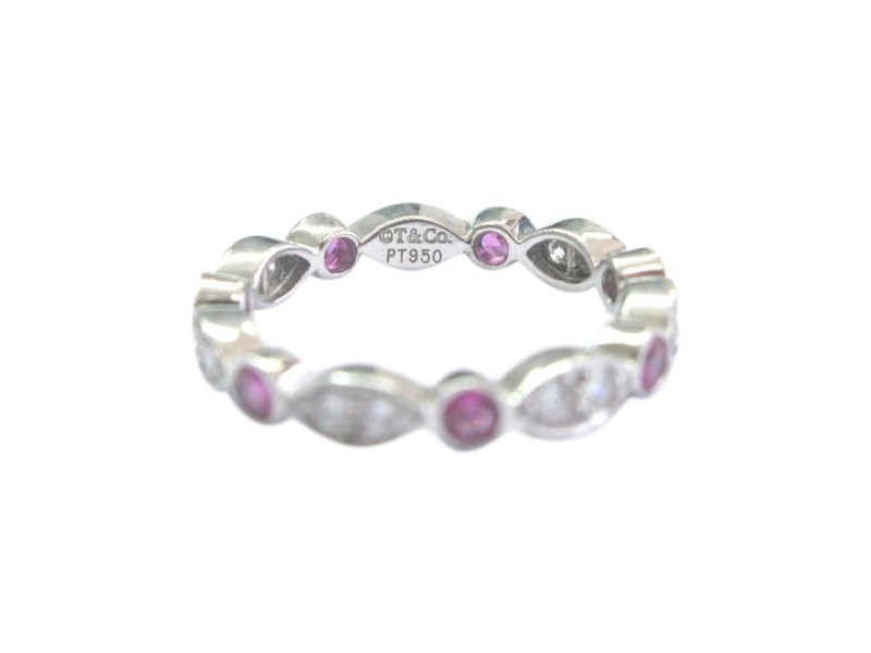 Tiffany & Co. PT950 Platinum with Pink Sapphire and 0.71ct Diamond Ring Size 5