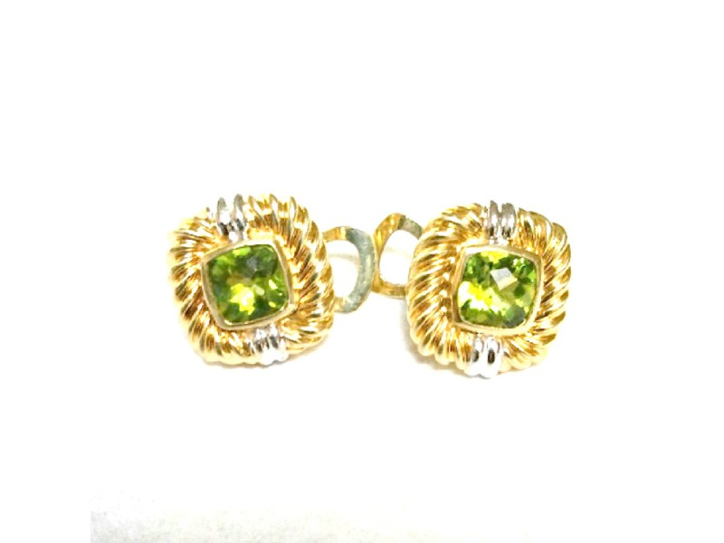 Vintage David Yurman 18K Yellow Gold Renaissance Peridot Earrings