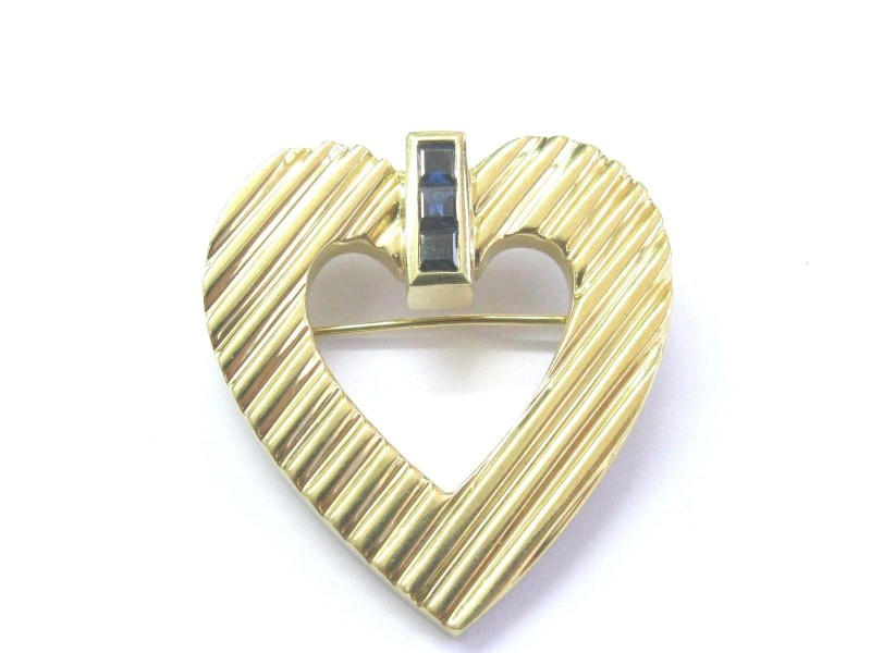 Tiffany & Co. 18K Yellow Gold Blue Sapphire Heart Pin Brooch