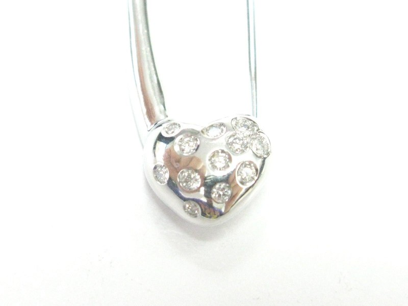 Aaron Basha 18Kt Baby Heart Diamond White Gold Pin